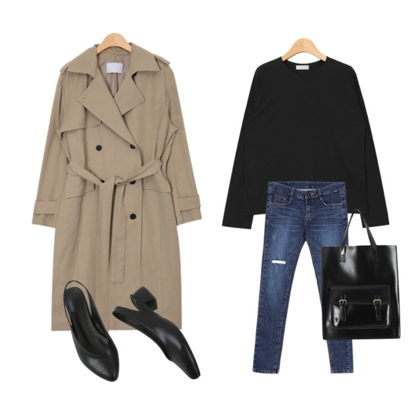 AIN cuffs slit point T (2 colors),AIN french mood trench coat (2 colors),BANHALA 샤이보이 팬츠등을 매치한 코디
