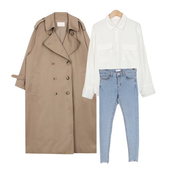 BULLANG GIRL 헤이헤이컷팅스키니P,biznshoe Oversize trench coat (2color),From Beginning Peach color cuffs shirts_M (size : free)등을 매치한 코디
