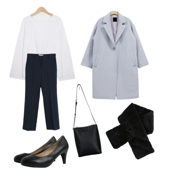 NEW NEED NOW 코튼캔디 롱코트(2color),LOOK CHIC semi boots-cut slacks (2 color),From Beginning 4 season square neck T_S (size : free)등을 매치한 코디