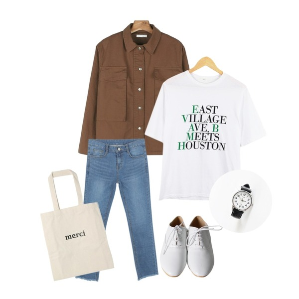 daily monday Cotton snap button jacket,IM3 릴레인 데님팬츠,LOOK CHIC east tee (3 color)등을 매치한 코디