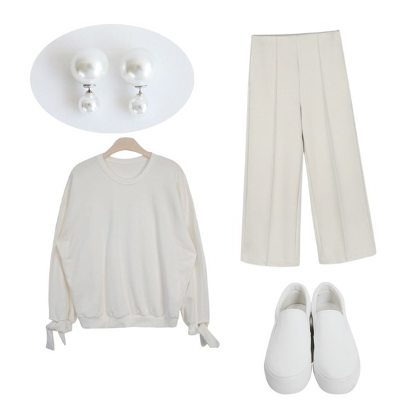 From Beginning Plan middle slip-on_H (size : 225,230,235,240,245),daily monday Daily pin-tuck wide pants,GIRLS RULE 소매 리본 맨투맨 (t2461)등을 매치한 코디