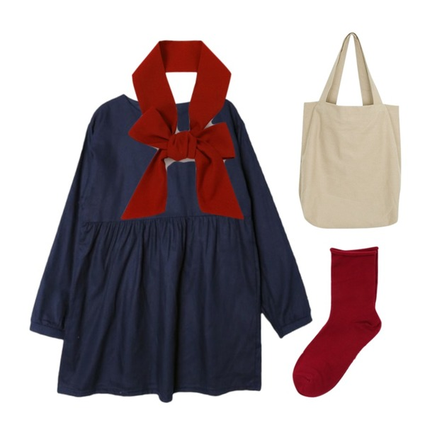 daily monday Roll cotton socks,From Beginning Blanc basic long tie_H (size : one),DORA 퍼블릭원피스등을 매치한 코디