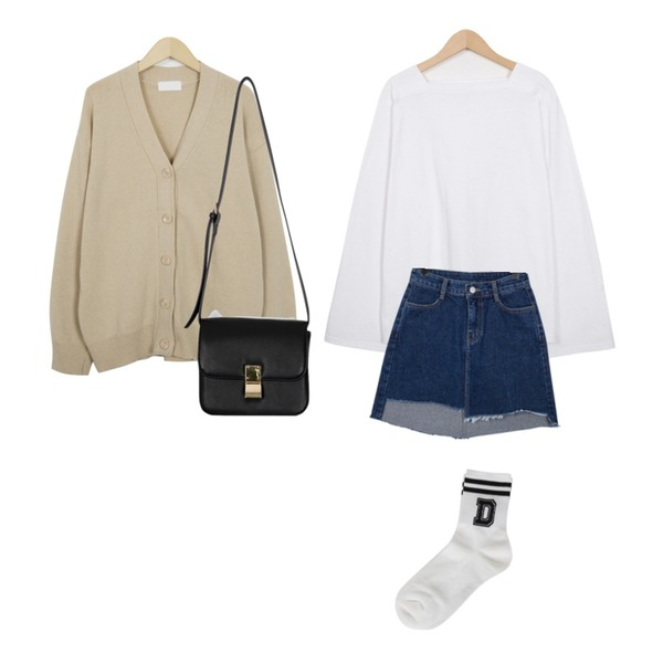 From Beginning Much basic wool cardigan_M (size : free),From Beginning Adorable unbal denim skirt_H (size : S,M,L),From Beginning 4 season square neck T_S (size : free)등을 매치한 코디