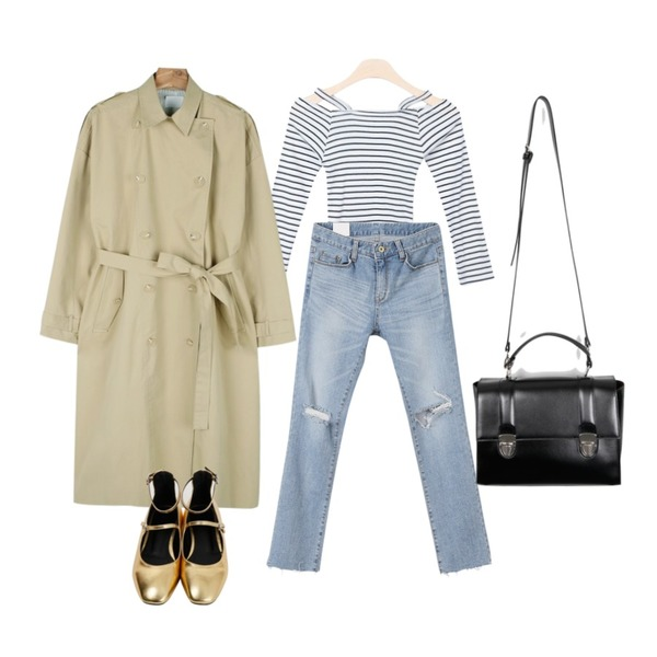 daily monday Boxy double trench coat,GIRLS RULE 마론 오프숄더 티 (t2435),MINIBBONG 로건 데미지 일자팬츠등을 매치한 코디