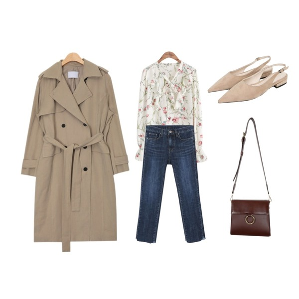 daily monday Deep blue cutting detail denim,common unique [TOP] FLORAL SHIRRING 4 COLOR BLOUSE,AIN french mood trench coat (2 colors)등을 매치한 코디