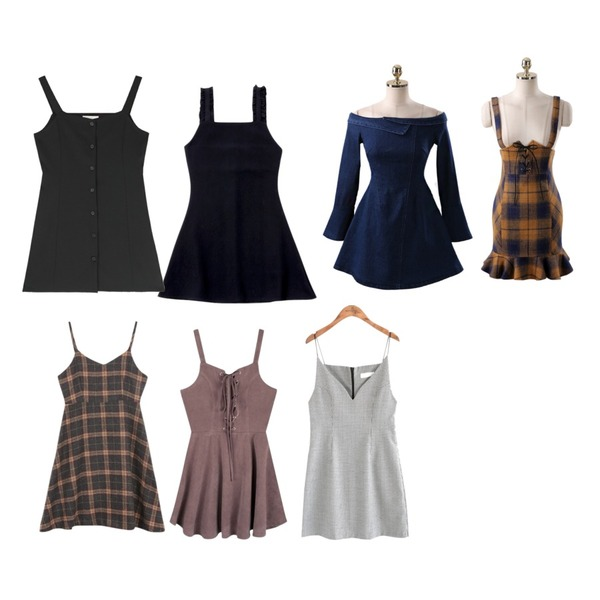 MIXXMIX 레니 버튼업 원피스,TWEE Frill sleeveless flare onepiece,common unique [OPS] TATAN CHECK BUSTIER OPS등을 매치한 코디