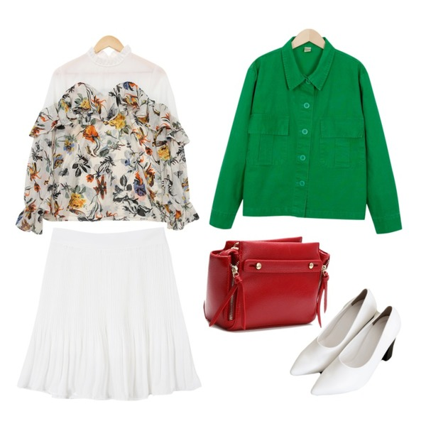 common unique [SHOES] MODERN STILETTO HEEL,LOVELY SHOES 보우트 클러치백,From Beginning Wash crop cotton jacket_K(size : free)등을 매치한 코디