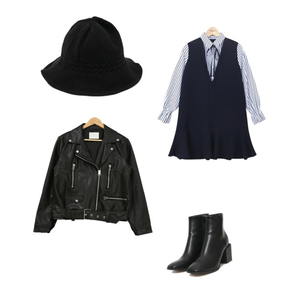 AIN square heel ankle boots (2 colors),TWEE layered flare shirts onepiece,PSYCHOSHOP 플레어 라이더자켓등을 매치한 코디