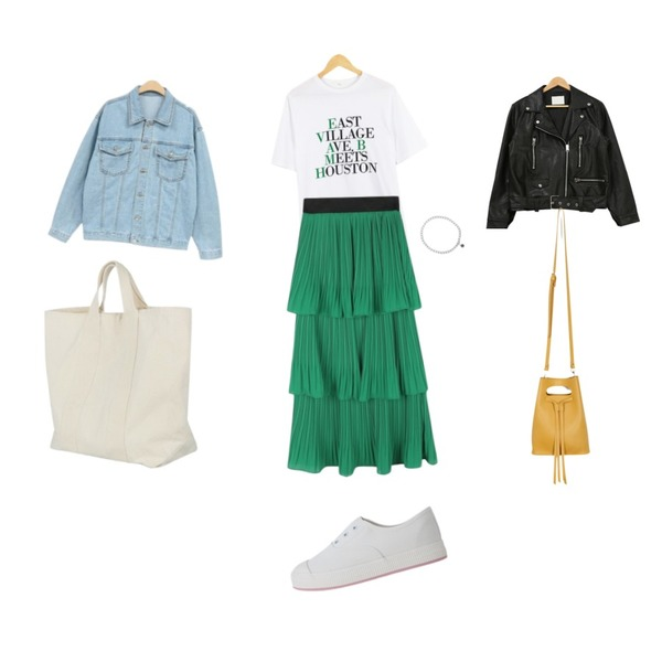 daily monday Feminine pleats skirt,NEW NEED NOW 스프링 청자켓(3color),LOOK CHIC east tee (3 color)등을 매치한 코디