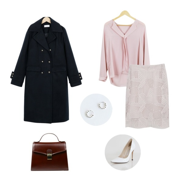 From Beginning Vintage golden double coat_M (size : free),myblin 패치 레이스 미디 스커트(4color),LOOK CHIC shawl blouse (3 color)등을 매치한 코디