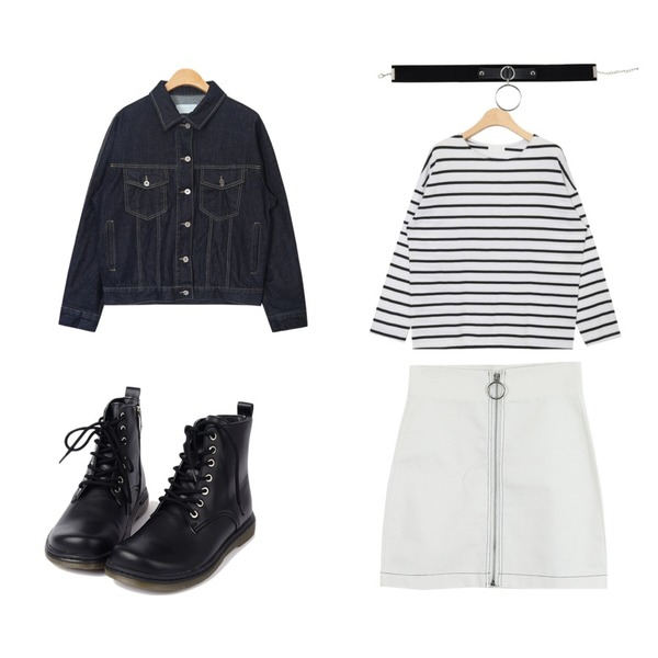 LOOK CHIC o ring skirts (2 color),AIN coco stripe round T (4 colors),AIN raglan shoulder denim jacket (2 colors)등을 매치한 코디