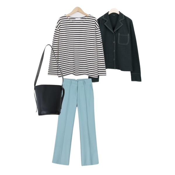 LOOK CHIC STITCH POINT SHIRTS JACKET (3 COLOR),From Beginning Much stripe basic T_S (size : free),daily monday Pin-tuck high slacks등을 매치한 코디