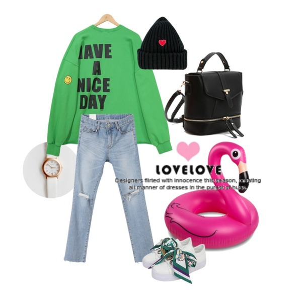 Pink_Flamingo,daily monday Daily clean watch,PSYCHOSHOP 스마일 맨투맨 (3colors)등을 매치한 코디