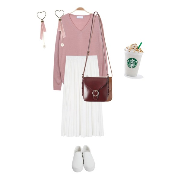 From Beginning Plan middle slip-on_H (size : 225,230,235,240,245),daily monday Piano long pleats skirt,myblin 디센트 V넥 니트 (6color)등을 매치한 코디