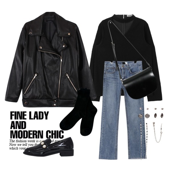 Untitled,biznshoe Boxy rider jacket ,MIXXMIX ONLY MIX Secret choker blouse등을 매치한 코디