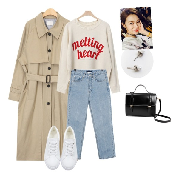 From Beginning About crop denim pants_S (size : S,M),AIN cape detail single trench coat (2 colors),LINDA GIRLS 하트 레터링 니트 (5color)등을 매치한 코디