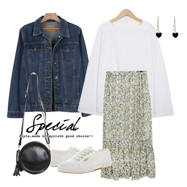 daily monday Spring denim jacket,From Beginning 4 season square neck T_S (size : free),common unique [SKIRT] RED FLOWER CHIFFON LONG SKIRT등을 매치한 코디