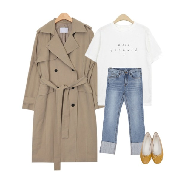 AIN french mood trench coat (2 colors),NEW NEED NOW 무빙 반팔 티셔츠(4color),BULLANG GIRL 럭키롤업데님P등을 매치한 코디