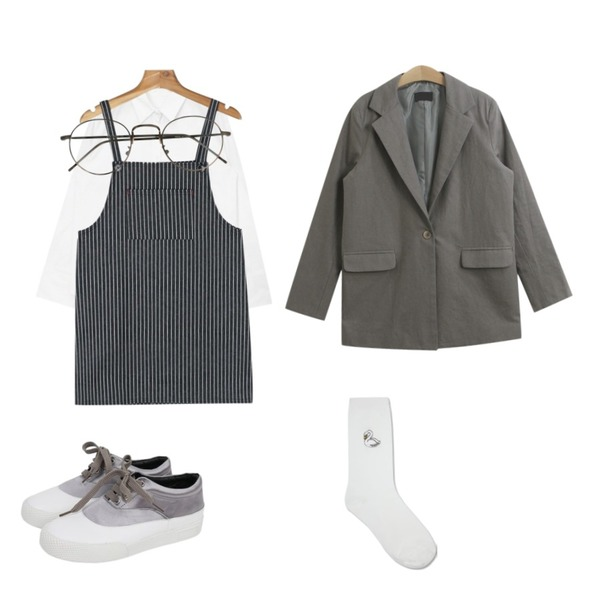 TODAY ME 리비드 자켓,daily monday Stripe suspender mini one-piece,AIN basic washing cotton shirts (3 colors)등을 매치한 코디