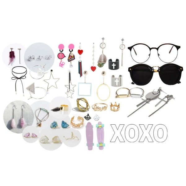 biznshoe Triangle point sunglass ,AIN top round glasses (3 colors),TWEE Heart pearl unbal earring등을 매치한 코디