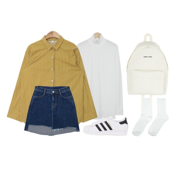 AIN color stripe boxy fit shirts (3 colors),MIXXMIX 아이엠백팩,From Beginning French half-neck T_H (size : free)등을 매치한 코디