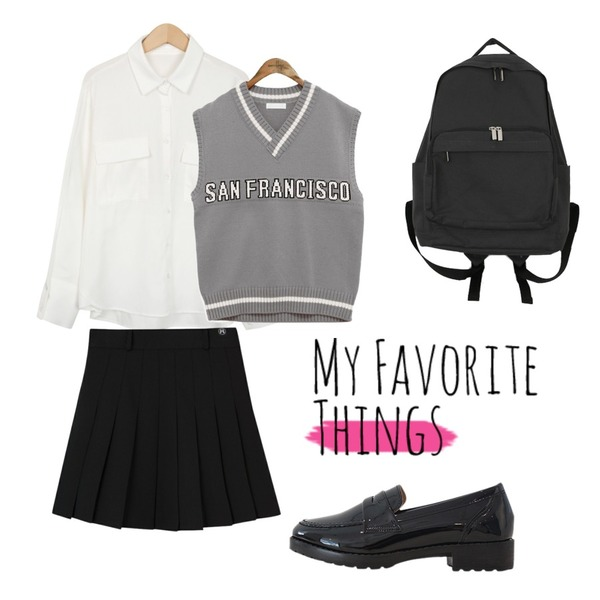 common unique [OUTER] SAN FRANCISCO LETTERING KNIT VEST,MIXXMIX HIDE Beltring Tennis Skirt Pants,From Beginning Peach color cuffs shirts_M (size : free)등을 매치한 코디