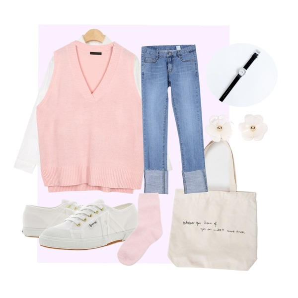 Magenta ,From Beginning Letter simple cotton bag_S (size : one),AIN cotton washing basic shirts (3 colors)등을 매치한 코디