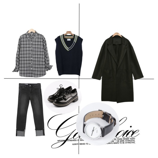 Untitled,Quarter,From Beginning Bean check cuffs shirts_H (size : free)등을 매치한 코디