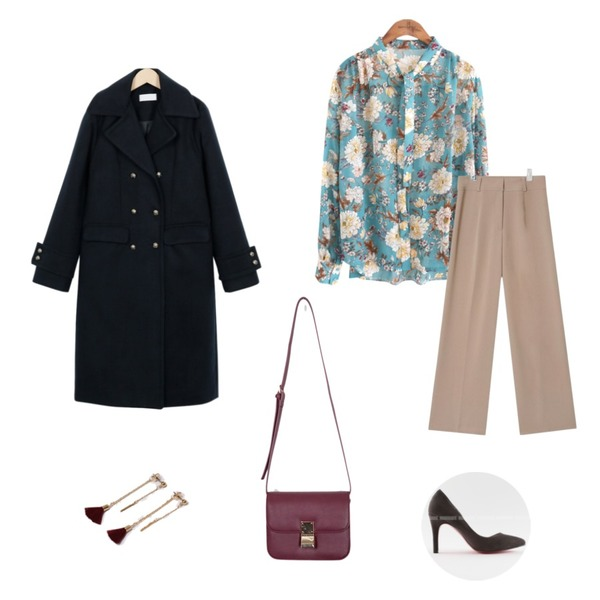 AIN high quality loose slacks (3 colors),From Beginning Vintage golden double coat_M (size : free),common unique [TOP] LILY SEETHROUGH SCARF BLOUSE등을 매치한 코디