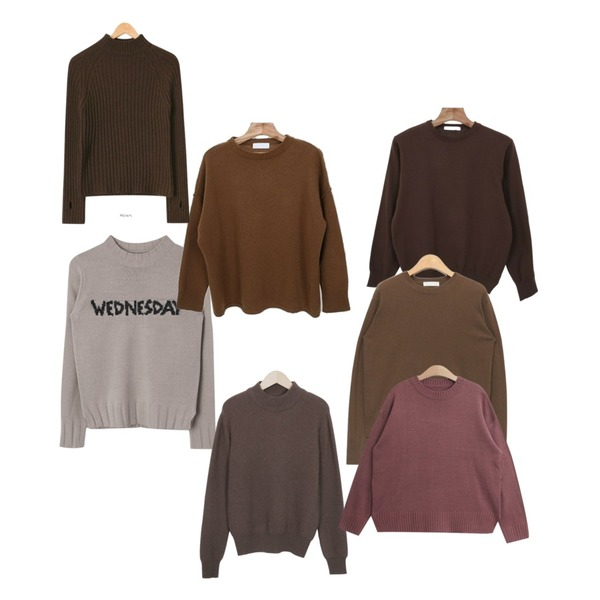 AIN cashmere wool long sleeve knit (3 colors),MIXXMIX 컬러 투데이 니트,Zemma World Walnut-라운드니트등을 매치한 코디