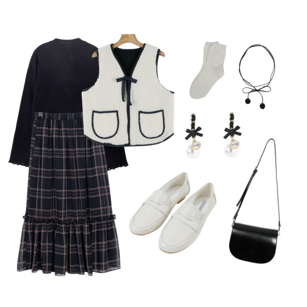 daily monday Dumble pocket vest,From Beginning Monaco check frill skirt_M (size : free),TWEE Vintage sleeve knit등을 매치한 코디