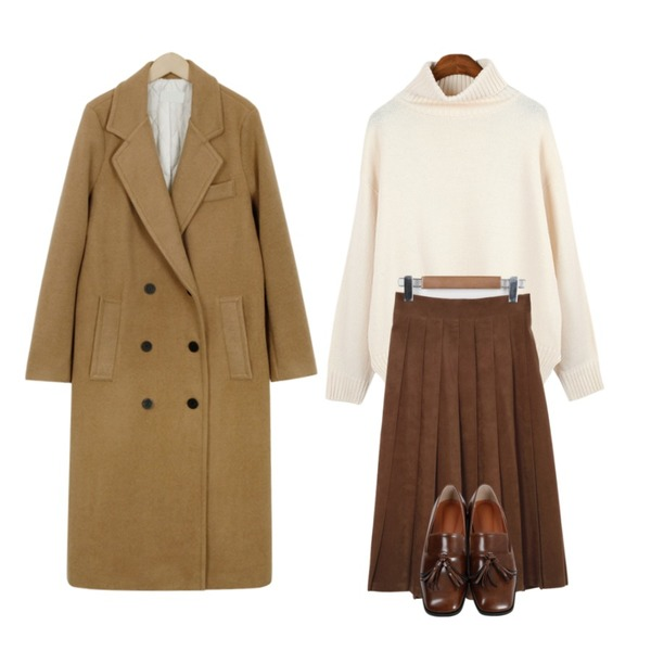 From Beginning Winter sweat pleats skirt_H (size : free),BANHALA 사랑해줘 니트,From Beginning Tailor double long coat_B (size : free)등을 매치한 코디
