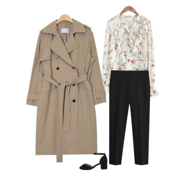 TODAY ME 어텀 슬렉스,common unique [TOP] FLORAL SHIRRING 4 COLOR BLOUSE,AIN french mood trench coat (2 colors)등을 매치한 코디