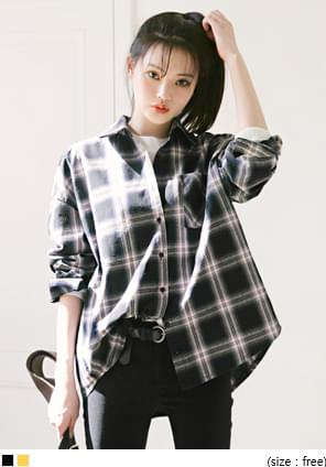 Loose Cotton Check Shirt WITH CELEBRITY _ IMSOOHYANG