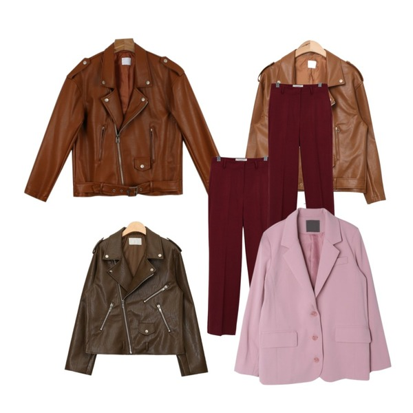 daily monday Color leather jacket,AIN basic daily rider jacket (3 colors),AIN high-quality overfit rider jacket (2 colors)등을 매치한 코디