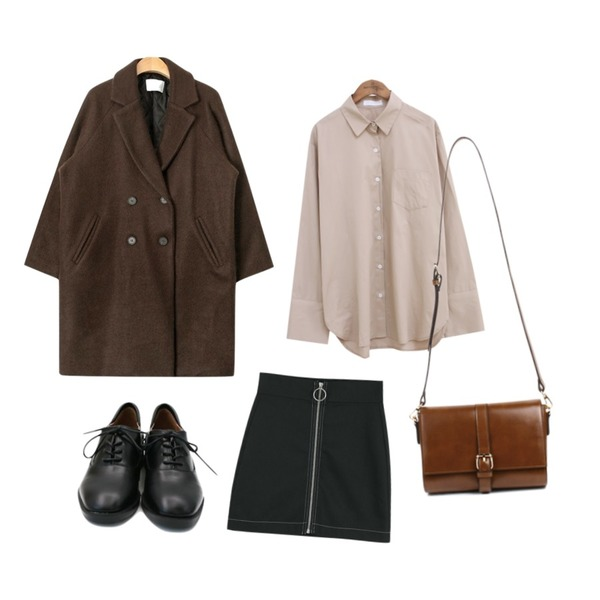 AIN napping double felt coat (2 colors),LOOK CHIC o ring skirts (2 color),common unique [TOP] SIMPLE WIDE CUFFS SHIRTS등을 매치한 코디