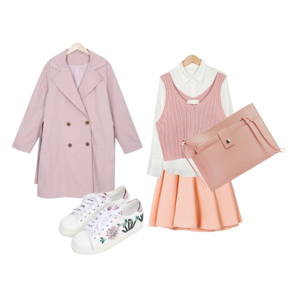 TWEE Flare banding midi skirt,From Beginning Peach color cuffs shirts_M (size : free),myblin 코튼 더블버튼 트렌치코트 (4color)등을 매치한 코디