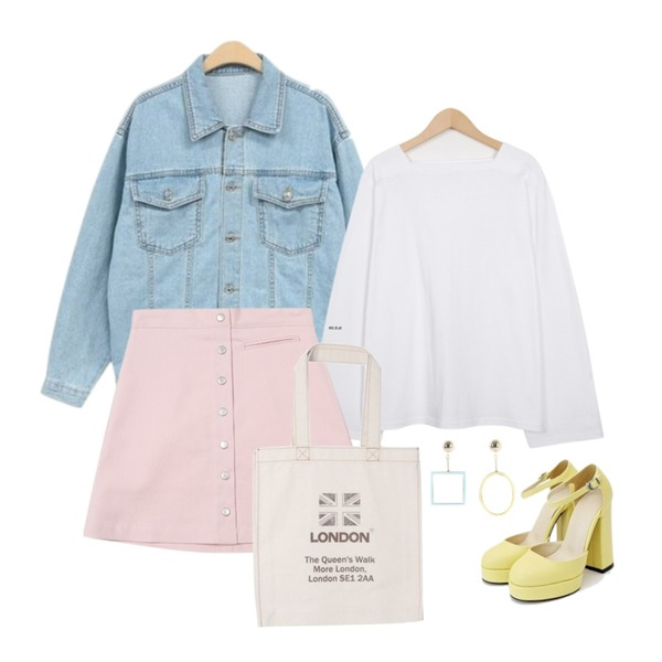 TWEE simple botton skirt,NEW NEED NOW 스프링 청자켓(3color),From Beginning 4 season square neck T_S (size : free)등을 매치한 코디