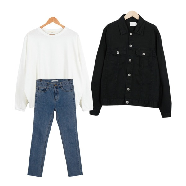 From Beginning Water washing cutting skinny_B (size : S,M,L),From Beginning Diligent cotton jacket_M (size : free),LOOK CHIC box mtm tee (6 color)등을 매치한 코디