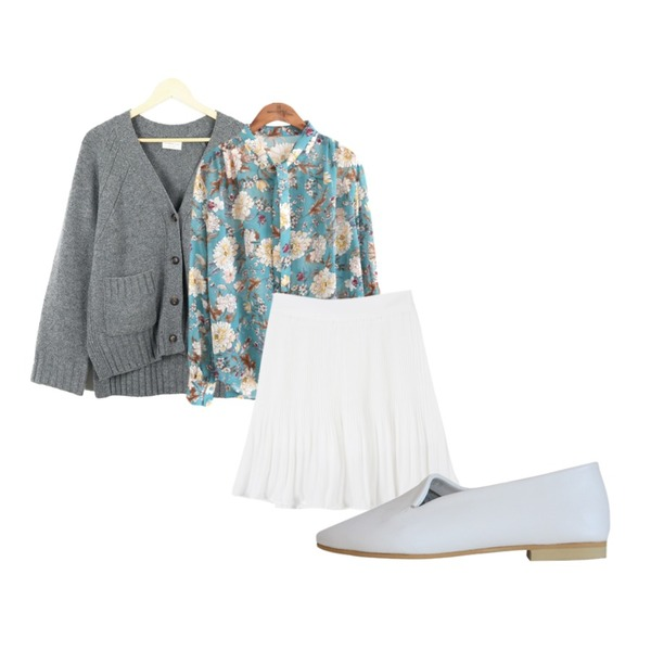 LOOK CHIC basic y cardigan (4 color),common unique [TOP] LILY SEETHROUGH SCARF BLOUSE,MINIBBONG 수아 스커트등을 매치한 코디
