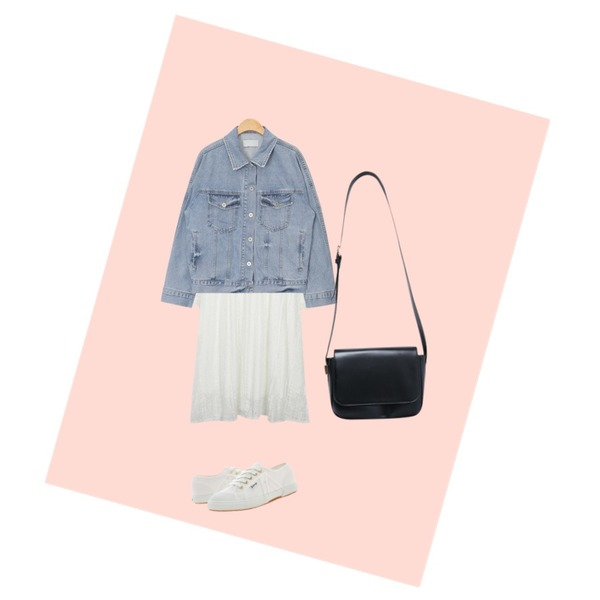 Peach,From Beginning Romantic punching lace ops_M (size : free),AIN raglan shoulder denim jacket (2 colors)등을 매치한 코디