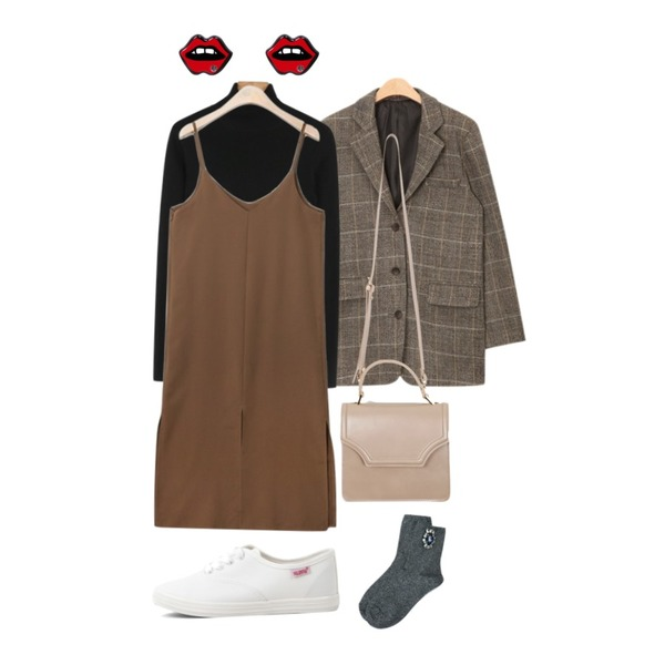AIN all sides slit ops (2 colors),daily monday Lycra pola knit tee,AIN over fit check jacket (2 colors)등을 매치한 코디