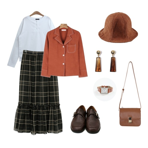 From Beginning Monaco check frill skirt_M (size : free),TODAY ME 에이든 셔츠,daily monday Stitch point slit shirt등을 매치한 코디