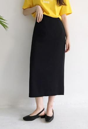 Back slit long skirt (2color)