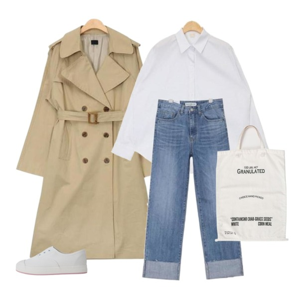 AIN SHALOM roll-up ver.1,AIN rounding hem casual shirts (3 colors),AIN wide sleeve boxy fit trench coat (2 colors)등을 매치한 코디