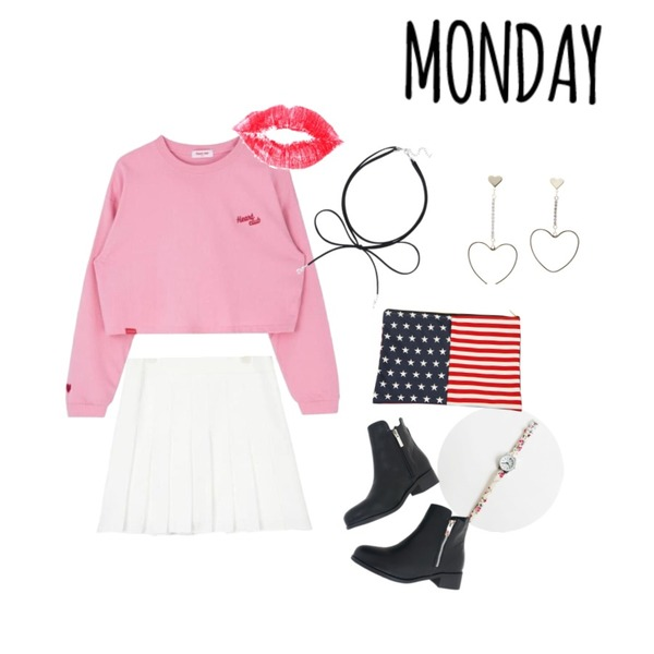 daily monday Flower band watch,MIXXMIX Heart Three Point Top,AIN girlish pleats pants skirt (3 colors)등을 매치한 코디