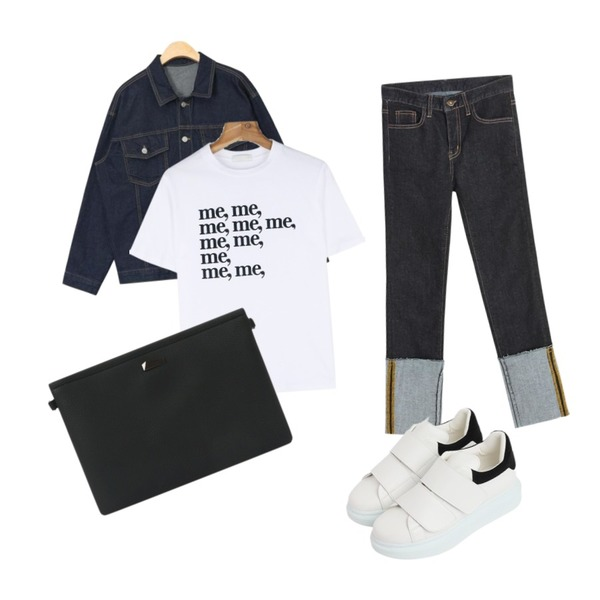daily monday Me lettering tee,AIN daily standard denim jacket (3 colors),TWEE Stitch roll up denim pant등을 매치한 코디