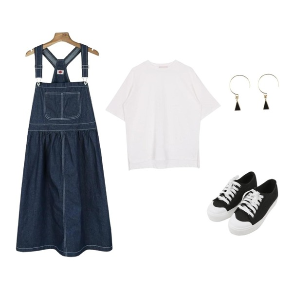 MINIBBONG 윌슨 운동화,biznshoe Half sleeve cotton tee (5color),daily monday Flare cotton suspender one-piece등을 매치한 코디