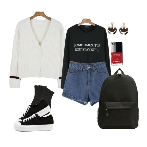 biznshoe Basic canvas sneakers (4color),daily monday Line point cardigan,MINIBBONG 슬기 레이스양말 (2켤레set) 등을 매치한 코디