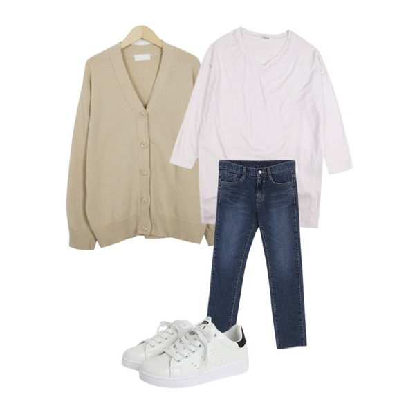 From Beginning Much basic wool cardigan_M (size : free),BANHALA 산다라 팬츠,IHRER SHAPE V-Neck Loose fit T-ShirtWhite등을 매치한 코디